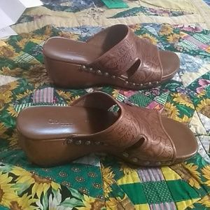 Cole Haan Shoes - Cole Hann Country Brown Leather Mules,  size 5B